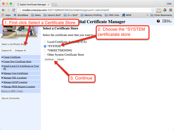 Setting up Valence on IBM i for External Access with SSL   CNX