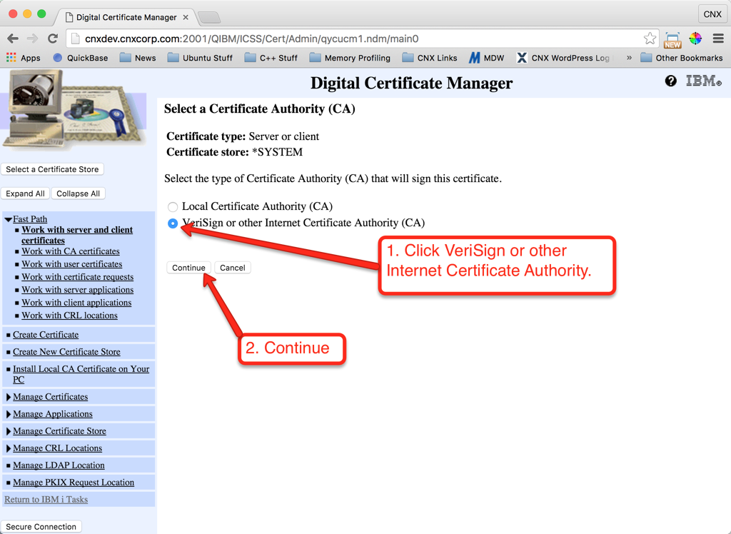 Setting up Valence on IBM i for External Access with SSL | CNX