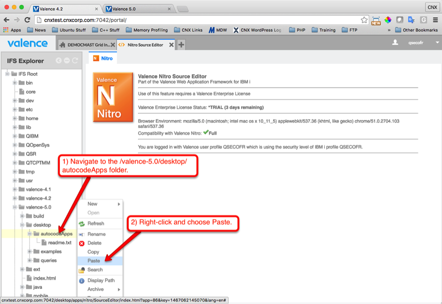 Figure 3: Pasting the source folder in the new IFS location